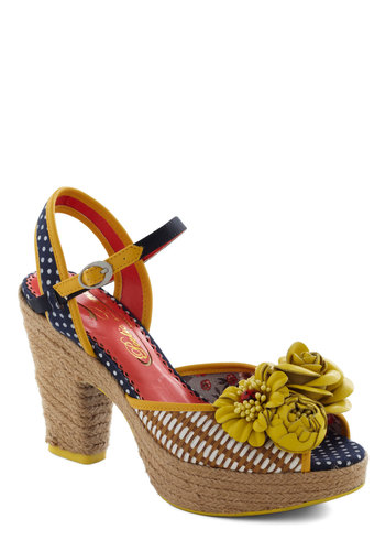Your Secret Garden Heel by Poetic License - Yellow, Blue, Polka Dots, Flower, Woven, High, Mary Jane, Peep Toe, White, Luxe