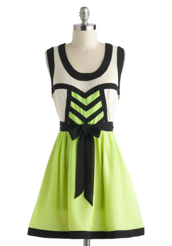 Sci Fi Lifestyle Dress - Black, Belted, Casual, A-line, Sleeveless, Sheer, Short, White, Green, Neon, Colorblocking, Scoop