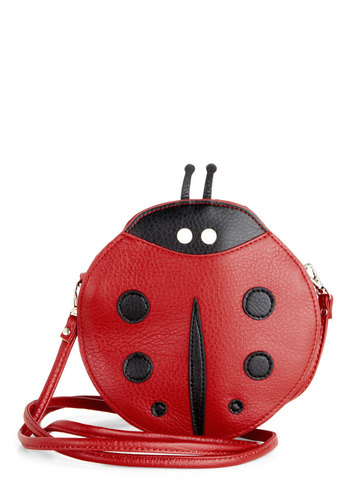 Caught the Love Bug Bag - Red, Black, White, Kawaii, Faux Leather, Print with Animals, Summer