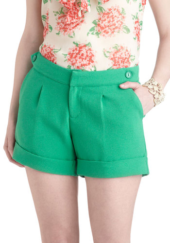Thaw Struck Shorts - Green, Solid, Pockets, Daytime Party, Beach/Resort, Pinup, Vintage Inspired, Summer
