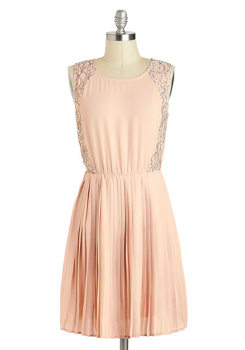 Blushing Pride Dress - Pink, Solid, Pleats, Daytime Party, A-line, Sleeveless, Sheer, Mid-length, Lace, Pastel, Graduation