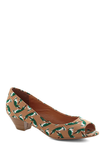 Made Like This Heel in Tan - Tan, Multi, Print with Animals, Peep Toe, Low, Variation