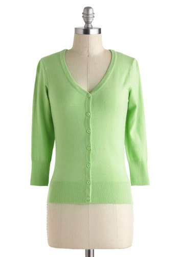 Charter School Cardigan in Mint - Mint, Solid, Buttons, Work, Long Sleeve, Pastel, Variation, Spring, Short, Pinup, Daytime Party, Basic, Best Seller