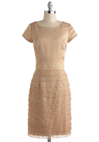 Work of Harp Dress - Long, Tan, Solid, Lace, Tiered, Cocktail, Sheath / Shift, Short Sleeves, Party, Wedding