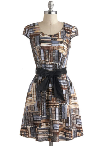 A Plot to Love Dress - Cotton, Brown, Grey, Pockets, Belted, Casual, A-line, Cap Sleeves, Novelty Print, Quirky, Scholastic/Collegiate, Mid-length