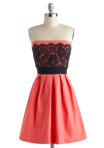Obviously Adorable Dress - Short, Coral, Black, Lace, Pleats, Party, Fit & Flare, Strapless, Prom, Graduation