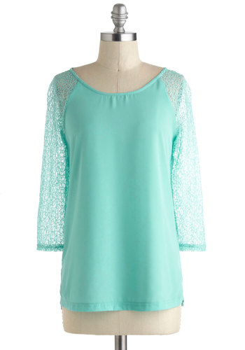 Fish Tanks a Bunch Top - Sheer, Mid-length, Blue, Solid, Daytime Party, Beach/Resort, Pastel, 3/4 Sleeve