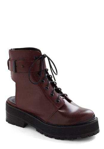 Mountain Mainstage Boot - Mid, Leather, Red, Black, Solid, Cutout, Chunky heel, Casual, Military, 90s, Statement