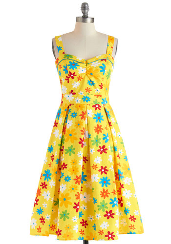 Something Tells Me Dress by Bettie Page - Cotton, Long, Yellow, Multi, Floral, Pleats, Casual, Vintage Inspired, Fit & Flare, Sweetheart, 50s, Sleeveless, Neon, Summer, Pinup