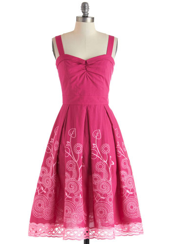 Berry Good Gardener Dress by Bettie Page - Cotton, Long, Pink, Floral, Embroidery, Pleats, Trim, Daytime Party, Fit & Flare, Sweetheart, Vintage Inspired, 50s, Sleeveless, Spring, Summer, Graduation