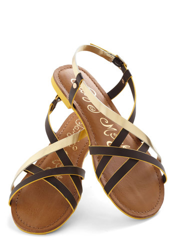 Furnish Your Portfolio Sandal in Brown - Brown, Gold, Solid, Strappy, Faux Leather, Casual, Daytime Party, Beach/Resort, Summer, Flat, Variation