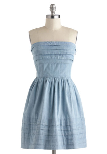 What a Keeper Dress in Chambray by Jack by BB Dakota - Blue, Solid, Casual, Pinup, Vintage Inspired, Strapless, Spring, Fit & Flare, Mid-length, Pockets, Tiered