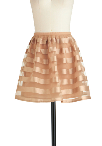 Cupcake Artist Skirt - Gold, Stripes, Party, Vintage Inspired, Girls Night Out, Exclusives, Short