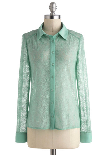 Museum Memories Top - Mint, Solid, Buttons, Work, Long Sleeve, Collared, Mid-length, Sheer, Lace, Pastel
