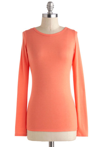 Fresh and Early Top - Orange, Solid, Casual, Long Sleeve, Mid-length, Jersey, Minimal, Travel