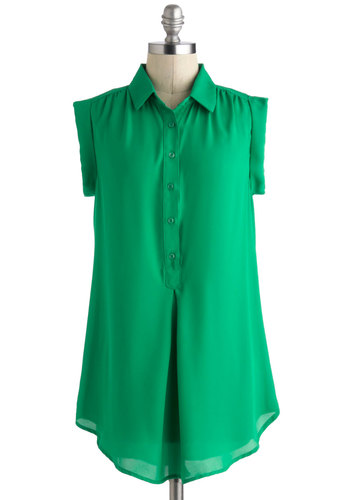 Daily Adventure Top - Long, Green, Solid, Buttons, Pleats, Work, Sleeveless, Summer