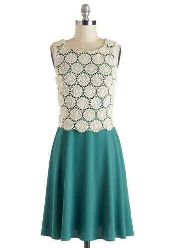 Pros and Conifers Dress - Green, White, Crochet, Daytime Party, A-line, Sleeveless, Vintage Inspired, 20s, Exclusives, Cotton, Mid-length