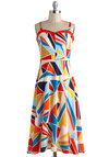 Mosaic of the Night Dress - Multi, Casual, Empire, Spaghetti Straps, Spring, Red, Yellow, Blue, White, Print, Sweetheart, Beach/Resort, Long