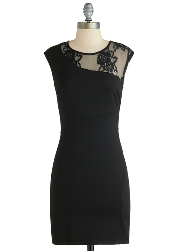 Signature Cocktail Dress - Sheer, Short, Black, Solid, Lace, Girls Night Out, Bodycon / Bandage, Sleeveless, Exclusives, Crew, LBD