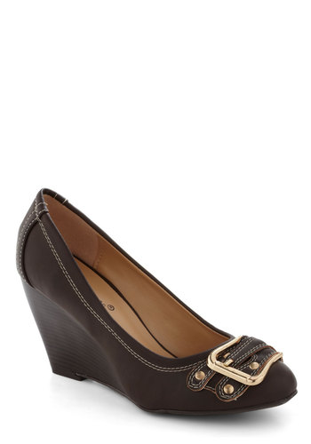 Intern for the Better Heel - Brown, Buckles, Work, Wedge, Mid, Faux Leather
