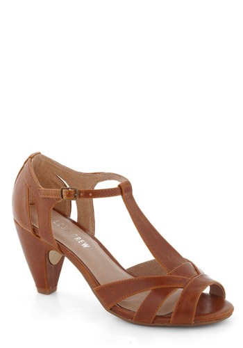 How Do You Feel? Heel in Brown by Chelsea Crew - Tan, Solid, Cutout, Peep Toe, Mid, Leather, Party, Work, Vintage Inspired, 20s, 30s