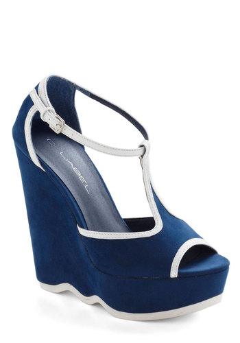 High Seas Must-See Wedge - Blue, White, Solid, Trim, High, Platform, Wedge, Peep Toe, Party, Girls Night Out, Nautical