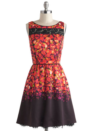 Glassblown Away Dress - Sheer, Mid-length, Red, Purple, Black, Multi, Floral, Lace, Pockets, Party, A-line, Sleeveless, Boat, Luxe, Prom