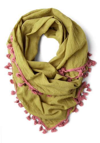 Love and Lighthearted Scarf in Olive - Yellow, Pink, Solid, Tassels, Trim, Boho, Cotton