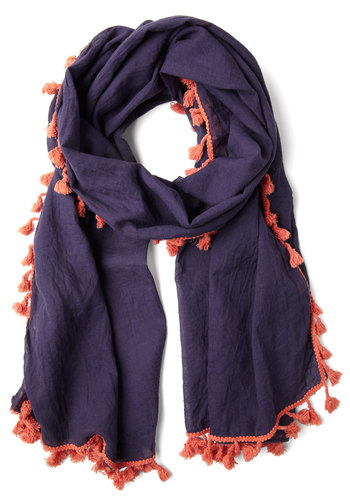 Love and Lighthearted Scarf in Blue - Purple, Coral, Solid, Tassles, Trim, Boho, Cotton, Sheer, Variation