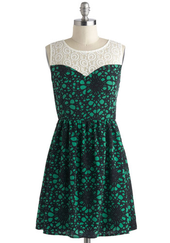 Nouveau Perspective Dress - Short, Green, Black, White, Print, Lace, Party, A-line, Sheer