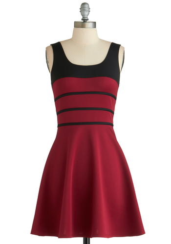 Twirl of Opportunity Dress - Short, Red, Black, Party, Fit & Flare, Tank top (2 thick straps), Stripes, Exclusives, Scoop