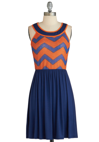 Stroll or Soiree Dress - Mid-length, Blue, Orange, Print, Casual, A-line, Sleeveless, Exclusives, Chevron, Summer