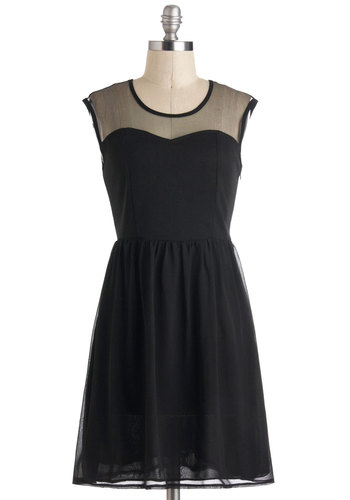 Not Just an Illusion Dress - Sheer, Short, Black, Solid, Party, A-line, Sleeveless, Prom