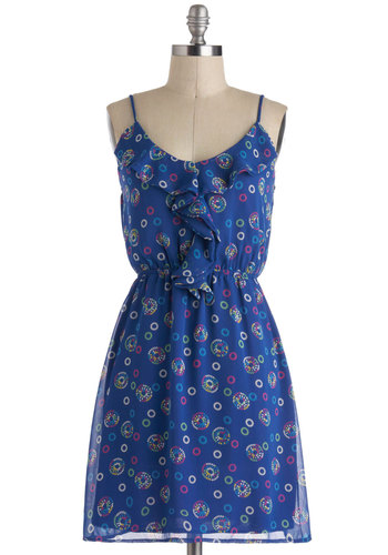 Candied Seeds Dress - Mid-length, Blue, Multi, Print, Ruffles, Casual, A-line, Spaghetti Straps