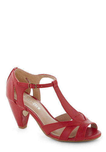 How Do You Feel? Heel in Red by Chelsea Crew - Red, Solid, Cutout, Peep Toe, Mid, Leather, Work, Vintage Inspired, 40s, Nautical, Variation