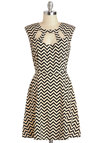 Zagging Rights Dress - Mid-length, Tan / Cream, Black, Cutout, Casual, A-line, Sleeveless, Chevron