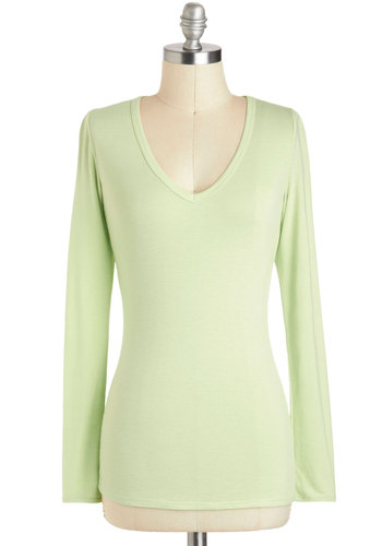 Honeydew a Little Dance - Mint, Solid, Casual, Long Sleeve, V Neck, Mid-length, Pastel, Minimal, Travel