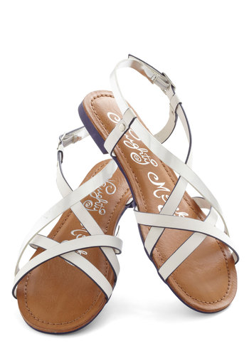 Furnish Your Portfolio Sandal in White - Faux Leather, White, Solid, Cutout, Strappy, Silver, Casual, Daytime Party, Beach/Resort, Summer, Flat, Variation