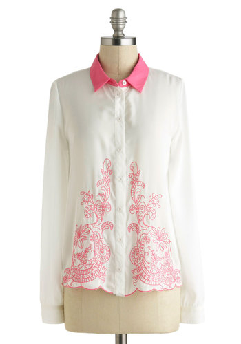 Miami Advice Top - White, Pink, Buttons, Embroidery, Work, Daytime Party, Vintage Inspired, Long Sleeve, Collared, Mid-length, Scallops