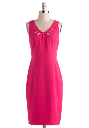 Mystery Dinner Winner Dress - Long, Pink, Solid, Cutout, Work, Shift, Sleeveless, V Neck, Special Occasion, Exclusives