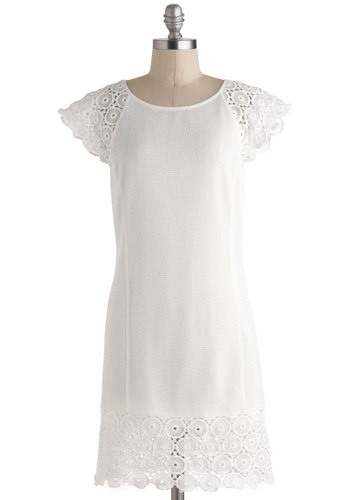 Coconuts for the Coast Dress - White, Solid, Casual, Cap Sleeves, Mid-length, Scallops, Sheath / Shift, Crochet, Beach/Resort, Boho, Sheer, Graduation, Summer