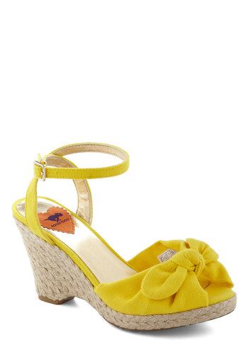 Sunny Sabbatical Heel - Yellow, Solid, Bows, Wedge, Espadrille, Peep Toe, Daytime Party, Graduation, Pinup, Vintage Inspired, Nautical, Beach/Resort, Summer