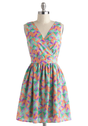 Chatting Over Chai Dress in Geometric - Multi, Print, Pleats, Casual, A-line, Sleeveless, V Neck, Short, Cutout, Green, Purple, Coral, Summer, Variation