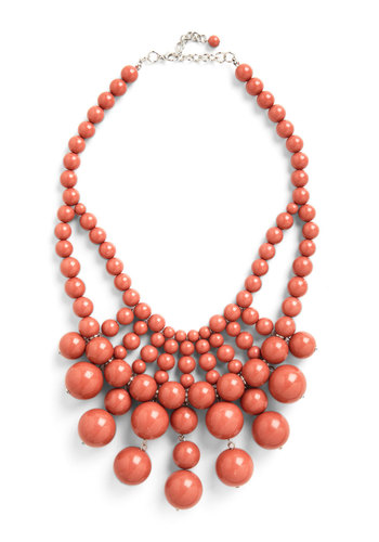 What About Bauble? Necklace in Rich Mauve - Solid, Beads, Tiered, Statement, Bridesmaid, Party, Coral