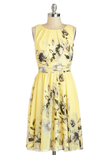 Magnolia Way Around Dress - Long, Yellow, Black, White, Floral, Wedding, Party, Vintage Inspired, Luxe, Sleeveless, Graduation, Bridesmaid