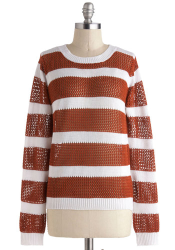 Take the Carrot Cake Sweater - Mid-length, Multi, Brown, White, Stripes, Casual, Long Sleeve, Nautical, Sheer, Crew