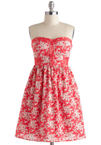 Rose Colored Classes Dress - Cotton, Short, Coral, Pink, Floral, A-line, Strapless, Sweetheart, Daytime Party, Summer