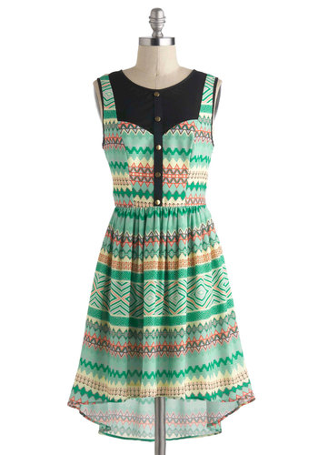 Pattern of the Century Dress - Print, Buttons, Casual, A-line, Sleeveless, Sheer, Mid-length, Green, Multi, High-Low Hem