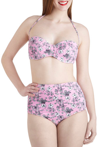 Island Before Time Two Piece - Pink, Black, White, Floral, Pinup, High Waist, Summer, Beach/Resort, Vintage Inspired, 50s, Pastel, Halter