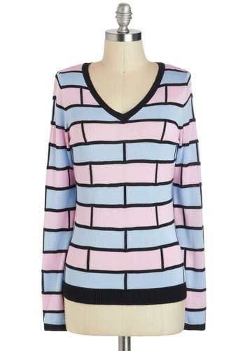 Wall This Time Sweater - International Designer, Mid-length, Multi, Blue, Pink, Black, Pastel, Long Sleeve, Patch, V Neck